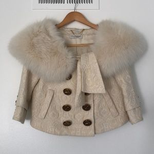 Juicy Couture Brocade Cropped Coat w Fur Collar
